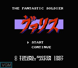 Title screen of the game Valis - The Fantastic Soldier on Nintendo NES
