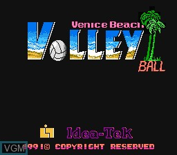 Title screen of the game Venice Beach Volleyball on Nintendo NES