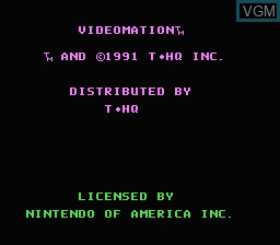 Title screen of the game Videomation on Nintendo NES