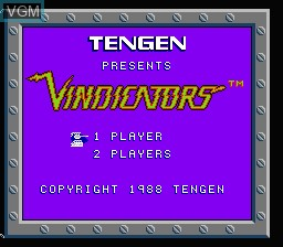 Title screen of the game Vindicators on Nintendo NES
