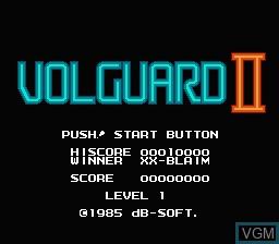 Title screen of the game Volguard II on Nintendo NES