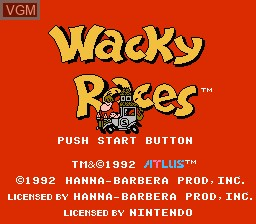 Title screen of the game Wacky Races on Nintendo NES