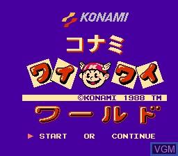 Title screen of the game Wai Wai World on Nintendo NES