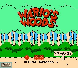 Title screen of the game Wario's Woods on Nintendo NES