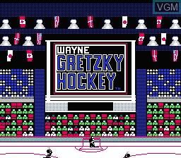 Title screen of the game Wayne Gretzky Hockey on Nintendo NES