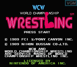 Title screen of the game WCW World Championship Wrestling on Nintendo NES