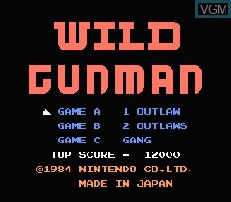 Title screen of the game Wild Gunman on Nintendo NES