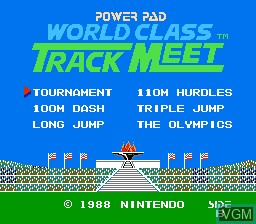 Title screen of the game World Class Track Meet on Nintendo NES