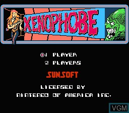 Title screen of the game Xenophobe on Nintendo NES