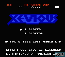 Title screen of the game Xevious - The Avenger on Nintendo NES
