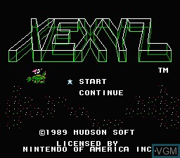 Title screen of the game Xexyz on Nintendo NES