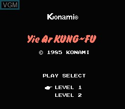 Title screen of the game Yie Ar Kung-Fu on Nintendo NES