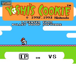 Title screen of the game Yoshi's Cookie on Nintendo NES