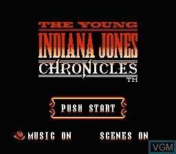 Title screen of the game Young Indiana Jones Chronicles, The on Nintendo NES