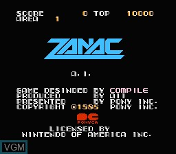 Title screen of the game Zanac on Nintendo NES