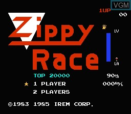 Title screen of the game Zippy Race on Nintendo NES