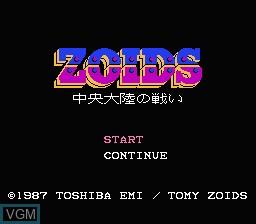 Title screen of the game Zoids - Chuuou Tairiku no Tatakai on Nintendo NES