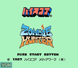 Title screen of the game Zombie Hunter on Nintendo NES