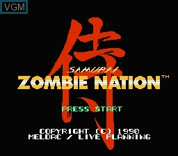 Title screen of the game Zombie Nation on Nintendo NES