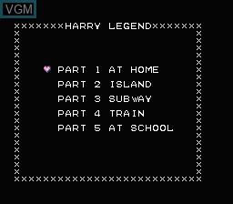 Menu screen of the game Harry's Legend on Nintendo NES