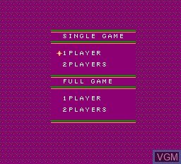 Menu screen of the game Decathlon on Nintendo NES