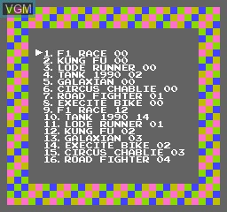 Menu screen of the game 116-in-1 on Nintendo NES