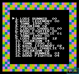 Menu screen of the game 118-in-1 on Nintendo NES