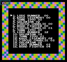 Menu screen of the game 118-in-1 on Nintendo NES