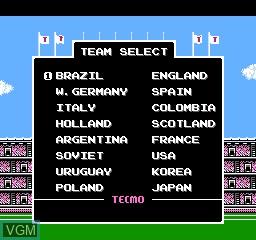 Menu screen of the game FIFA 97 International Soccer on Nintendo NES