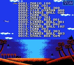 Menu screen of the game 1997-in-1 on Nintendo NES