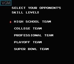 Menu screen of the game 10-Yard Fight on Nintendo NES