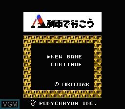 Menu screen of the game A Ressha de Ikou on Nintendo NES