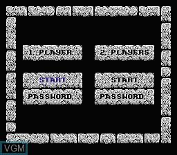 Menu screen of the game Advanced Dungeons & Dragons - Dragon Strike on Nintendo NES