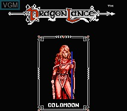 Menu screen of the game Advanced Dungeons & Dragons - Heroes of the Lance on Nintendo NES