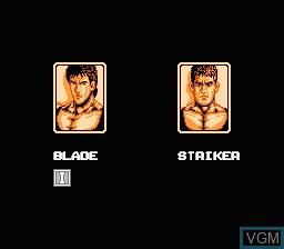 Menu screen of the game Bad Dudes on Nintendo NES