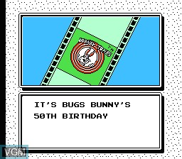 Menu screen of the game Bugs Bunny Birthday Bash on Nintendo NES