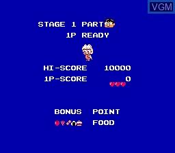 Menu screen of the game Chubby Cherub on Nintendo NES