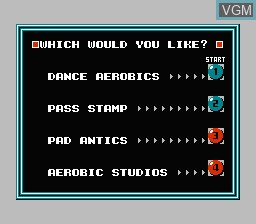 Menu screen of the game Dance Aerobics on Nintendo NES
