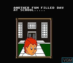 Menu screen of the game Day Dreamin' Davey on Nintendo NES
