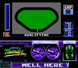 Menu screen of the game Days of Thunder on Nintendo NES