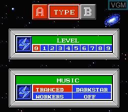 Menu screen of the game Deblock on Nintendo NES