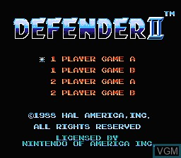 Menu screen of the game Defender II on Nintendo NES