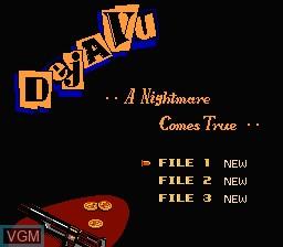 Menu screen of the game Deja Vu on Nintendo NES