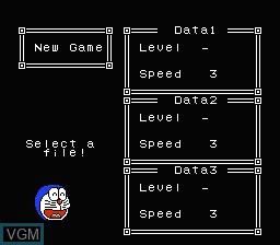 Menu screen of the game Doraemon - Giga Zombie no Gyakushuu on Nintendo NES