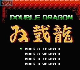 Menu screen of the game Double Dragon on Nintendo NES
