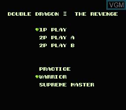 Menu screen of the game Double Dragon II - The Revenge on Nintendo NES