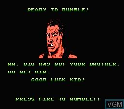 Menu screen of the game Double Dragon IV on Nintendo NES