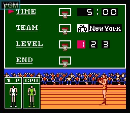 Menu screen of the game Double Dribble on Nintendo NES