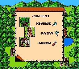 Menu screen of the game Dragon Buster II - Yami no Fuuin on Nintendo NES