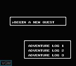 Menu screen of the game Dragon Warrior III on Nintendo NES